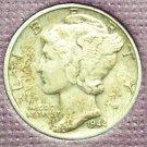 1944 Mercury Silver Dime EF #242