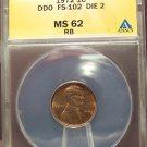 1972 Lincoln Memorial Cent DDO FS-102 Die 2 ANACS MS62RB #G21