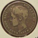 KM#706 1899 Spanish Una Peseta 83.5% Silver  #206