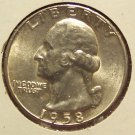 1958 Silver BU Washington Quarter #0635