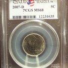 2007-D Jefferson Nickel Satin Nickel PCGS MS68 #G012