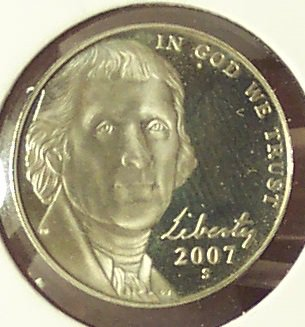 2007-S Deep Cameo Proof Jefferson Nickel #0579