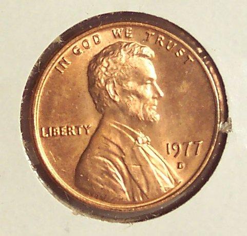1977-D Lincoln Memorial Penny Gem BU #01121