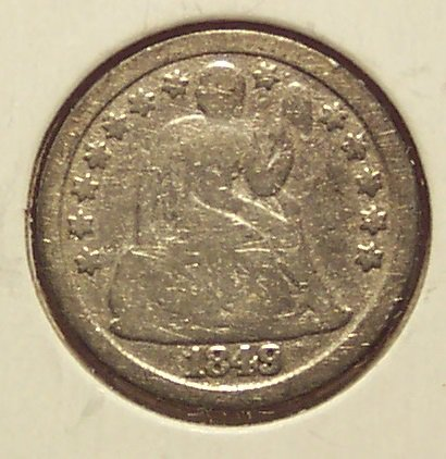 1849 Seated Liberty Silver Dime VG Partial Liberty #906