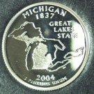 2004-S Deep Cameo Silver Proof Michigan State Quarter #0940