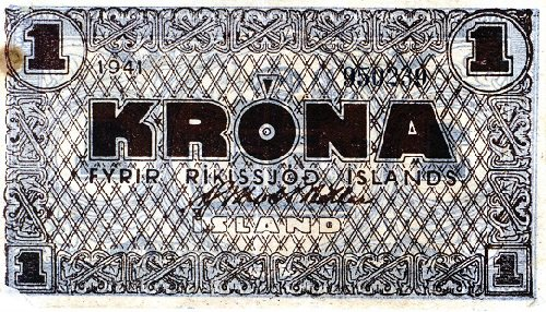 Iceland Emergency WWII Issue 1941 1 Krona