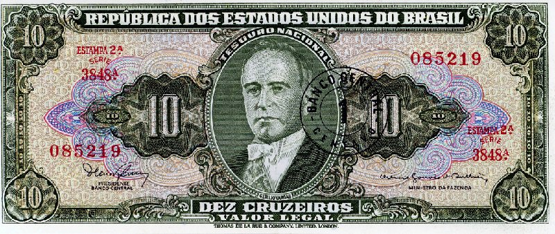 Brazil 10 Cruzeiros Banknote, 1967 With overstamp
