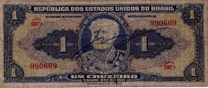 Brazil 1 Cruzeiros Banknote, 1943
