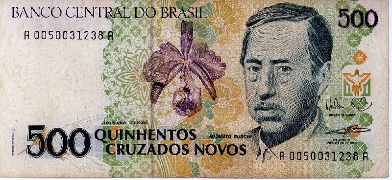Brazil 500 Cruzados Novos Banknote, 1990 pick #222 NO OVERPRINT