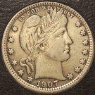 1907 Barber Silver Quarter EF #M055
