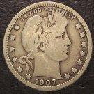 1907 Barber Silver Quarter VG #M056