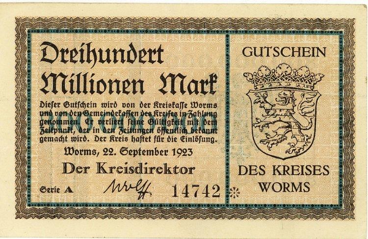 German Notgeld Dreihundert Millionen Mark Gutschein Worms Extremely Rare