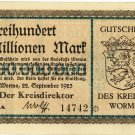German Notgeld Dreihundert Millionen Mark Gutschein Worms Extremely Rare