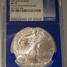 2016 SILVER EAGLE NGC MS70 30TH ANNIVERSARY 1st DAY OF ISSUE BLUE CORE #G2
