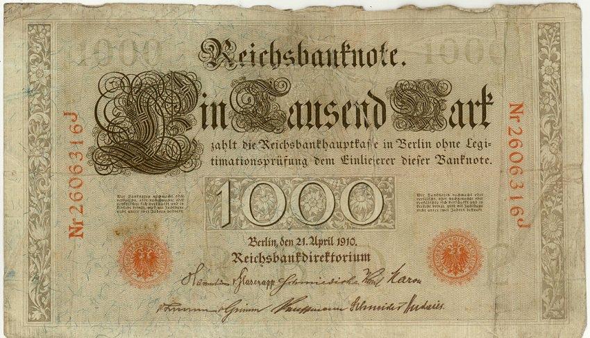 German Empire 1910 1000 Marks DER-44b