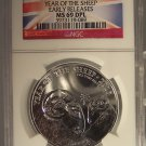 2015 Great Britain Year of the Sheep 1oz Silver NGC MS69DPL Flag Label #G49