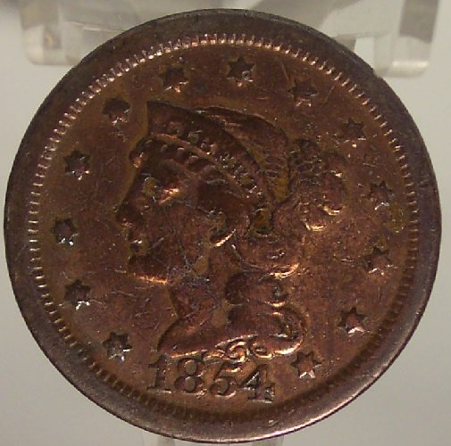 1854 Large Cent Braided Hair VF Details #0861