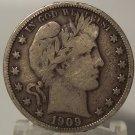 1909 Silver Barber Half Dollar F12 #0074