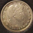1896 Barber Silver Quarter VF Details #0611