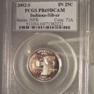 2002-S Silver Proof Indiana State Quarter PCGS PR69DCAM #G042