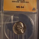 1959 Jefferson Nickel ANACS MS64 DDR #G016