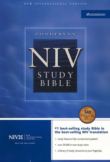 NIV Study Bible: Top-Grain Leather Black, Indexed