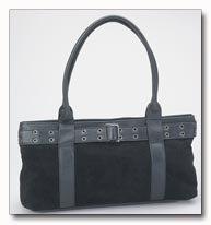 Genuine Suede Leather Purse in Black