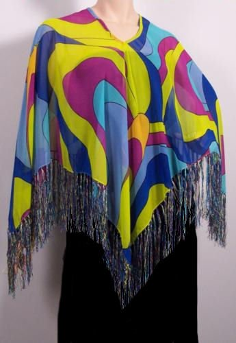 Lightweight Summer Poncho Blue