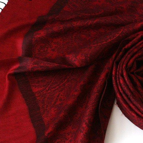 Pashmina Style Jacquard Paisley Shawl - Red and Black