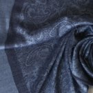 Pashmina Style Jacquard Paisley Shawl - Steel Blue and Gray