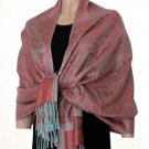 Pashmina Style Jacquard Paisley Shawl - Carmine Pink and Light Blue!
