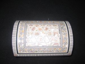 Geometric pattern Jewellery Box with inlaid mother of pearl