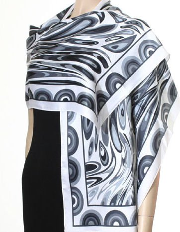 Hand Printed Satin Scarf - Black and silver.
