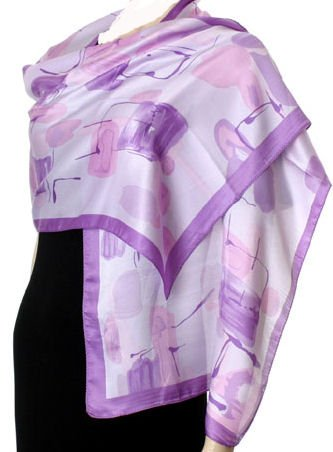 Hand Printed Satin Scarf - Lilac.
