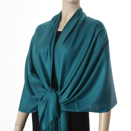 Pashmina Style, 100% Viscose Shawl - Teal Color