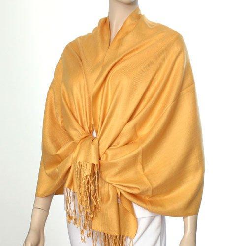 Silk Blend Pashmina Style Shawl - Saffron Color
