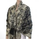 Rich Metallic Gitter Pashmina Shawl with Flower Patterns- Black Accent
