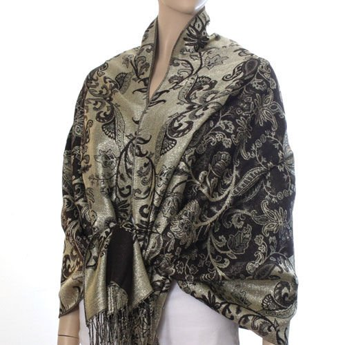 Rich Metallic Gitter Pashmina Shawl with Flower Patterns- Brown Accent