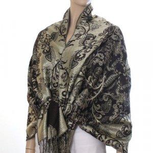 Rich Metallic Gitter Pashmina Shawl with Flower Patterns- Brown Accent