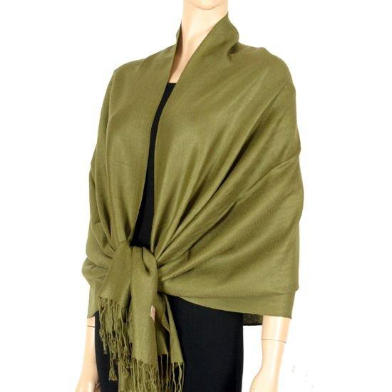 Pashmina Style (Olive Green) Shawl - 100% Viscose