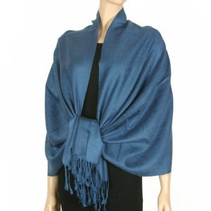 Jacquard Paisley Design Pashmina - Cool Blue
