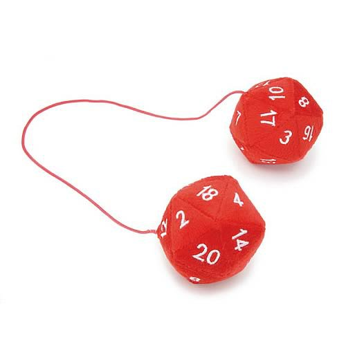 Red 20 Sided Fuzzy Geek Dice Rear View Mirror Danglers