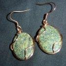 Copper Wrapped Jade Earrings