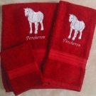 Embroidered Percheron Horse Dark Red Bath Towel Set