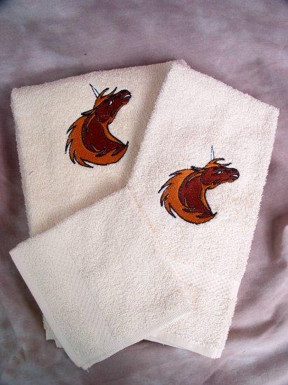 Embroidered Gold UNICORN Cream Bath Towels Set