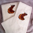 Embroidered Gold UNICORN Cream Bath Towels Set