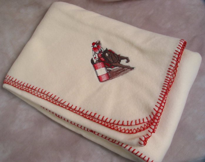 Polyester Barrel Racer HORSE Fleece Throw