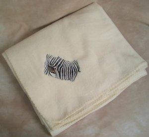 Polyester Zebra Face Cream Fleece Throw Blanket