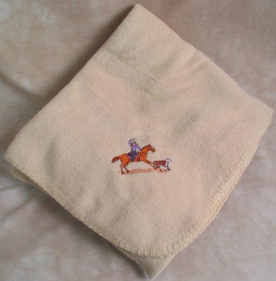 Polyester Roper Horse & Rider Beige Throw Blanket