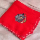 Polyester Embroidered Black Bear Red Fleece Throw